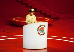 Queen Elizabeth II at CHOGM 2011 Opening Ceremony